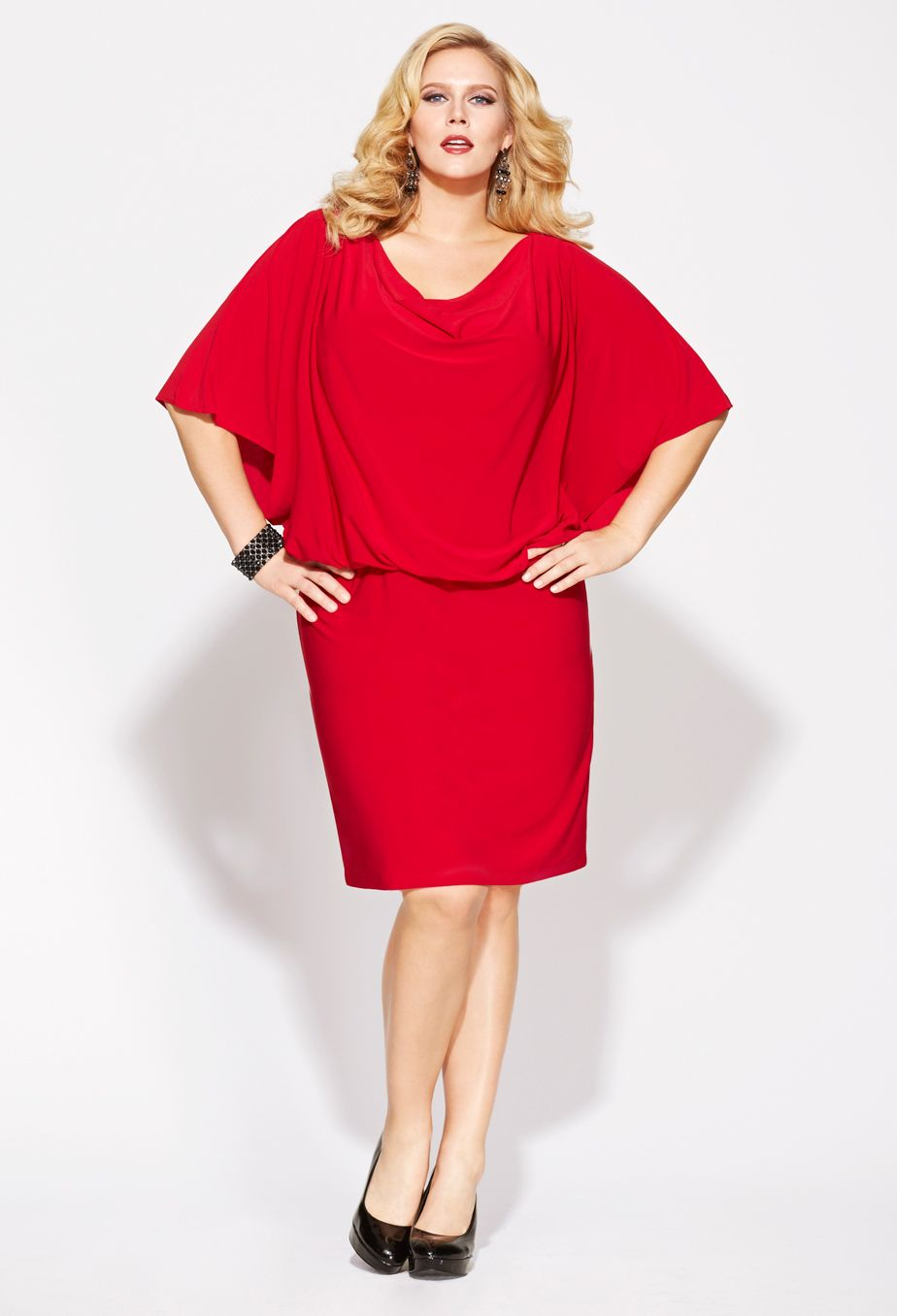 The perfect Christmas party dress? Plus Size Drape Neck Blouson ...