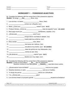 worksheet. Spanish Possessive Adjectives Worksheet. Grass Fedjp ...