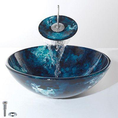 Bathroom Vanity Round Bowl Dark Blue Vessel Sink Basin And Waterfall
