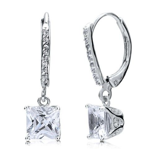 Sterling Silver Princess Cubic Zirconia CZ Leverback Dangle Earrings from Berricle - Price: $36.99