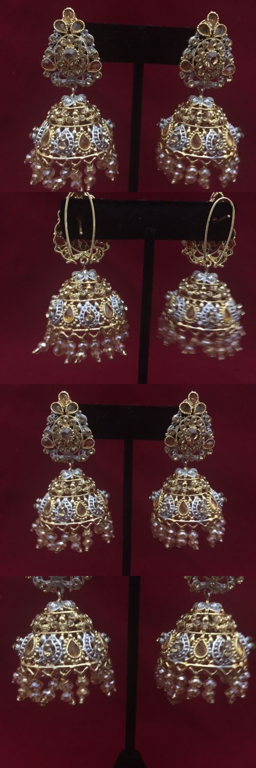 Earrings 98510: Nwot Indian Kundun Bell Jhumkas Attached With Rhinestones -> BUY IT NOW ONLY: $35 on eBay!