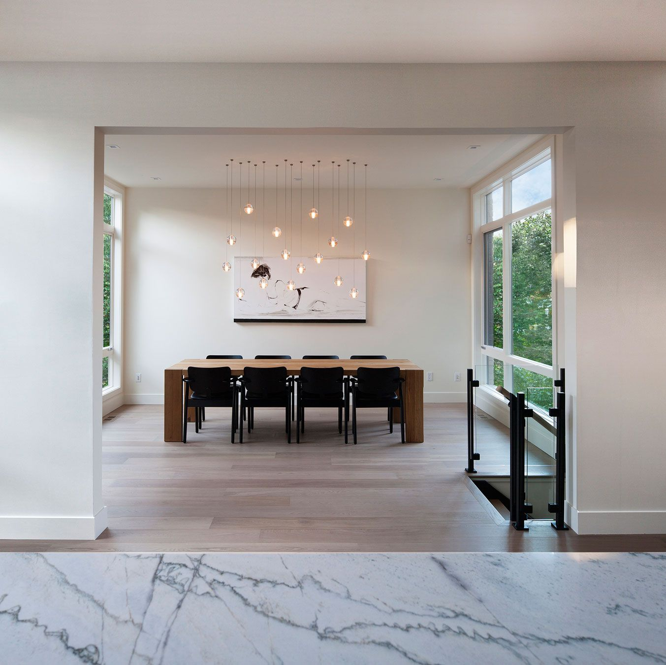 Decoration Excellent Home Design Of Westboro In Ontario By Kariouk Associates Featuring Marble Countertop Parquet Floor Wooden Dining Table Plus