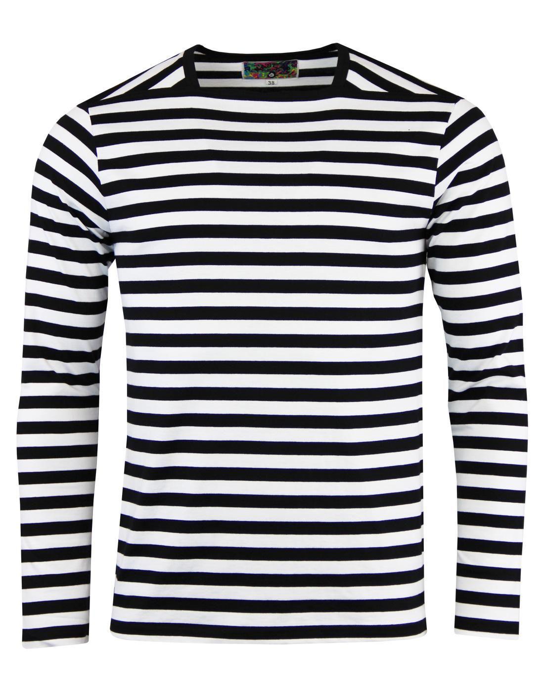 ceb61fb5d59 King Bee Retro Mod Atom Neck Long Sleeve T-Shirt in Black/White ...