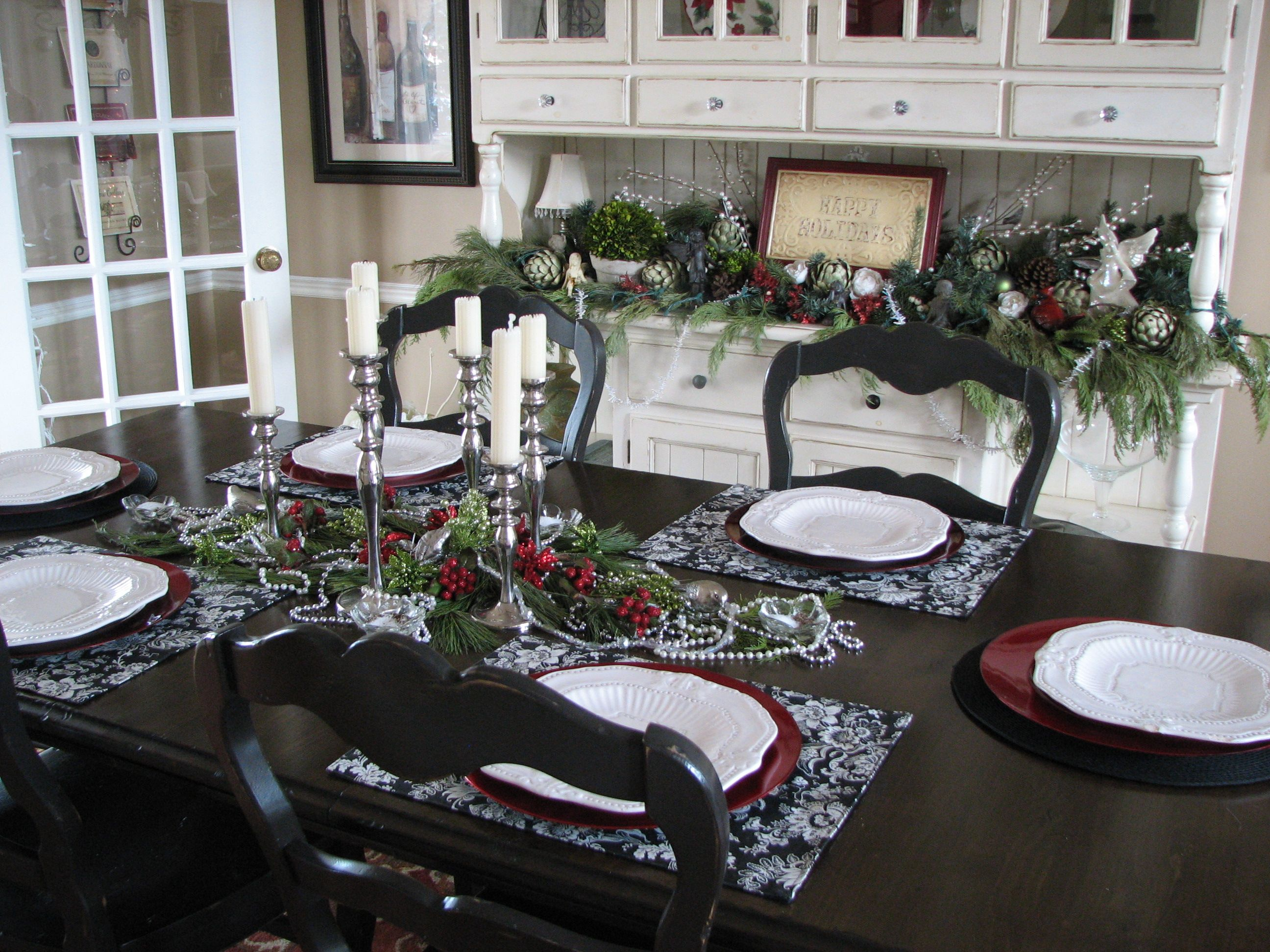 Christmas Table Setting Theme Black Red White And Silver
