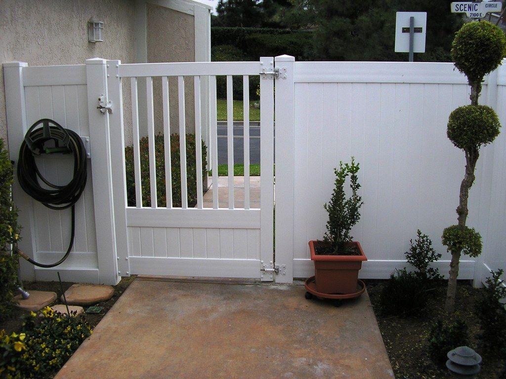 vinyl picket gate   Vinyl fence landscaping, Fence landscaping, Gate