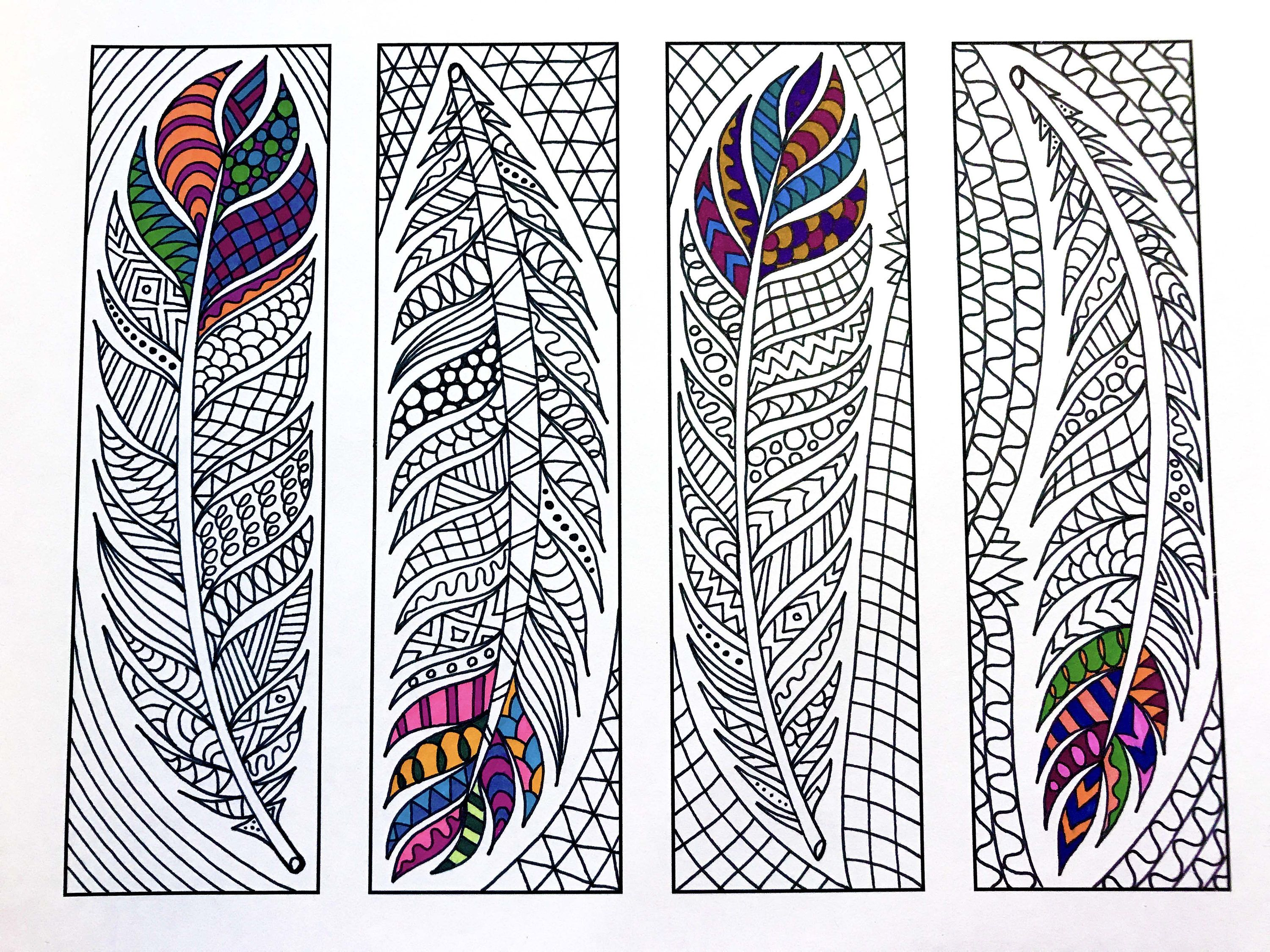 Photo of Feather Bookmarks – PDF Zentangle Coloring Page