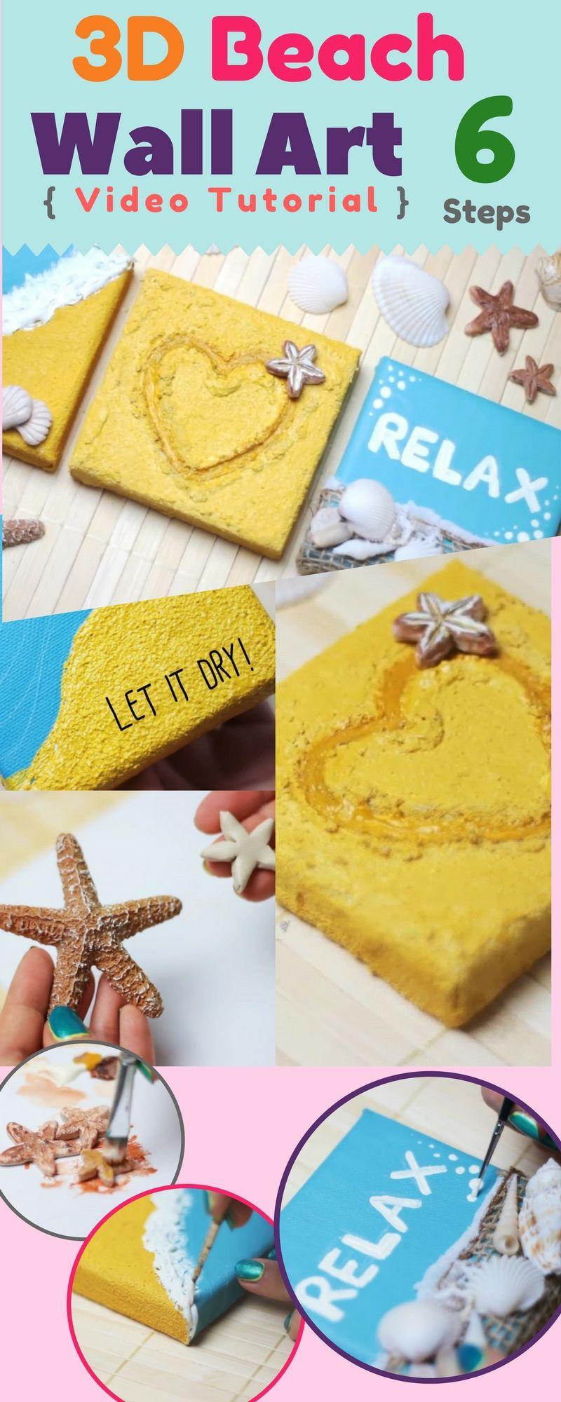 DIY 3D Beach Canvas Wall Decor Art { Video } Step by step DIY : 3D ...