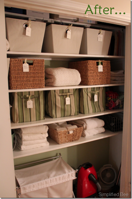 Great Organized Linen Closet: Put All The Supplies Into Groups And Then House The  Items Staying In The Closet Into Bins Or Baskets. Each Basket Receives A  Labeled ...