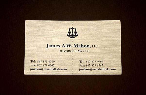 A divorce lawyer's tearable business card