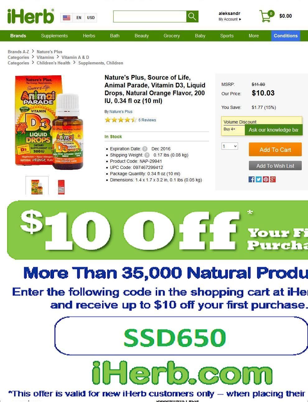 Natures Plus Animal Parade Vitamin D3 200iu Liquid Drops Orange Calcium Flavour 10ml