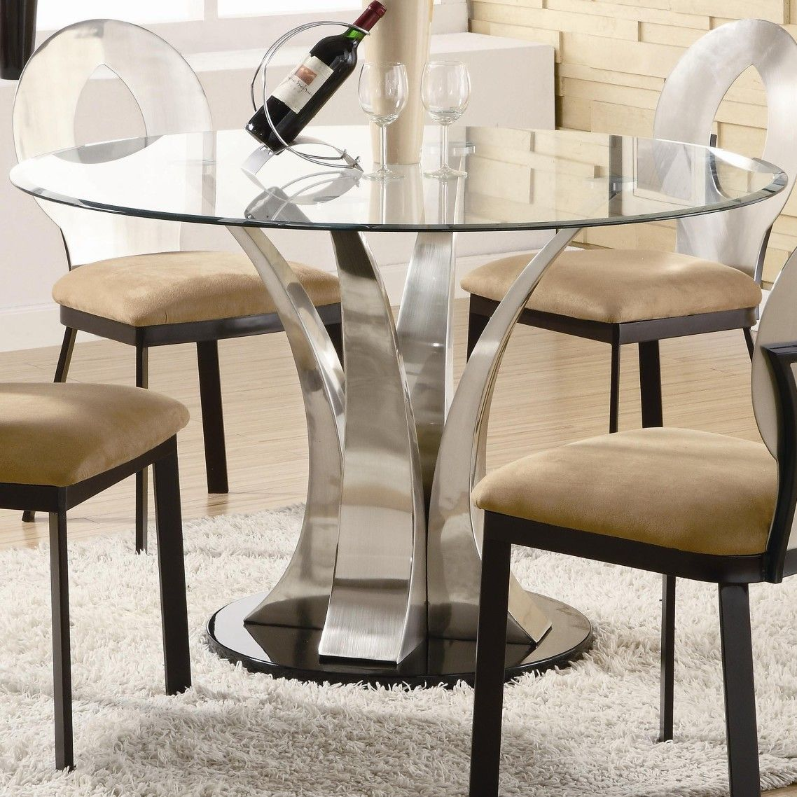 Awesome Modern Glass Top Dining Table With Chrome Metal Pedestal