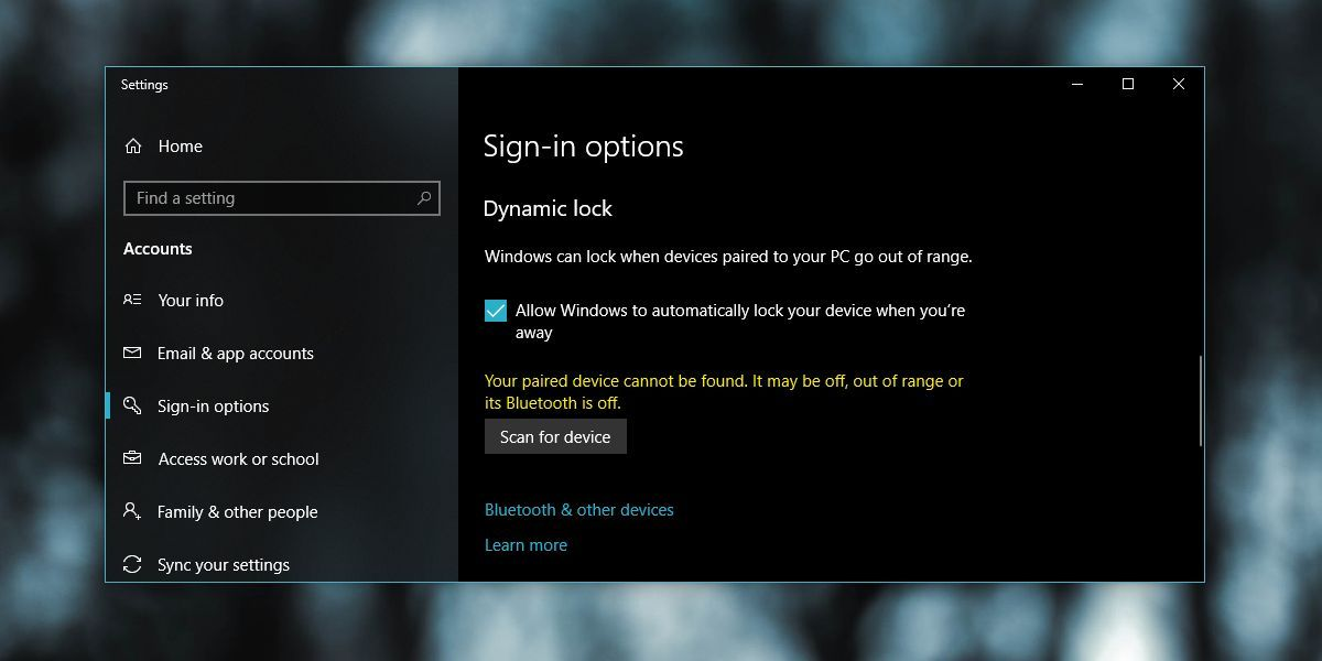 How To Fix Dynamic Lock Not Working After Windows 10 April