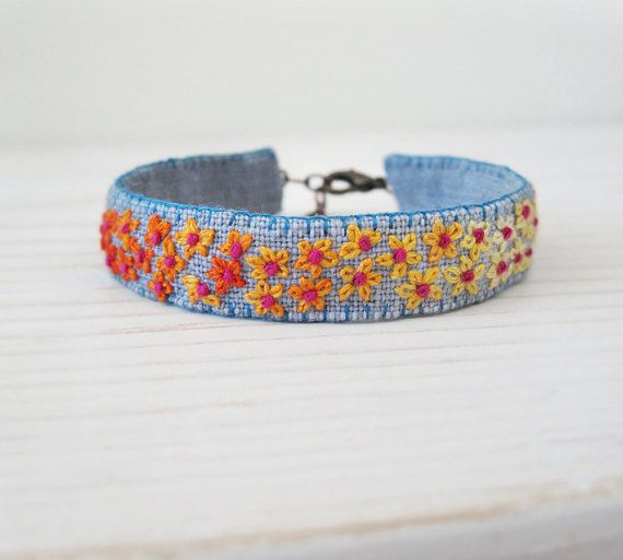 Floral Boho Embroidered Cuff Bracelet - Orange and Yellow Flowers with Pink Centers on Grey Linen