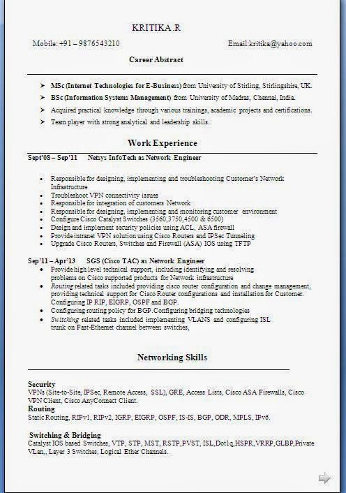 curriculum vitae uk Sample Template Example ofExcellent Curriculum - network engineer job description