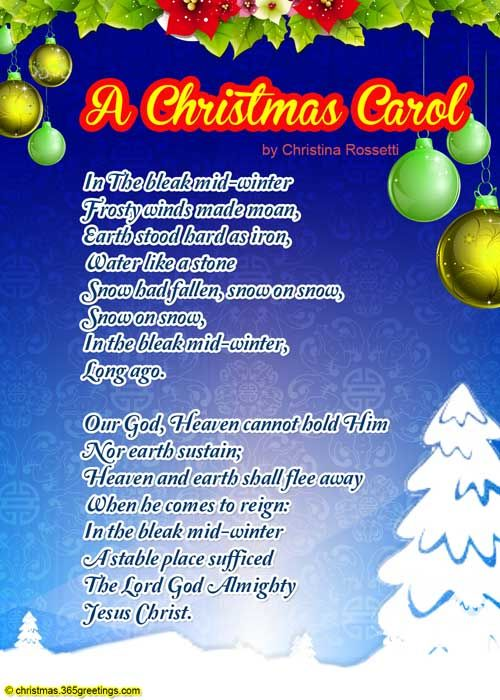 carol poem about a christmas
