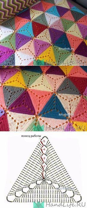 Los triángulos para la manta / la Labor de punto | Modelo de crochê ...