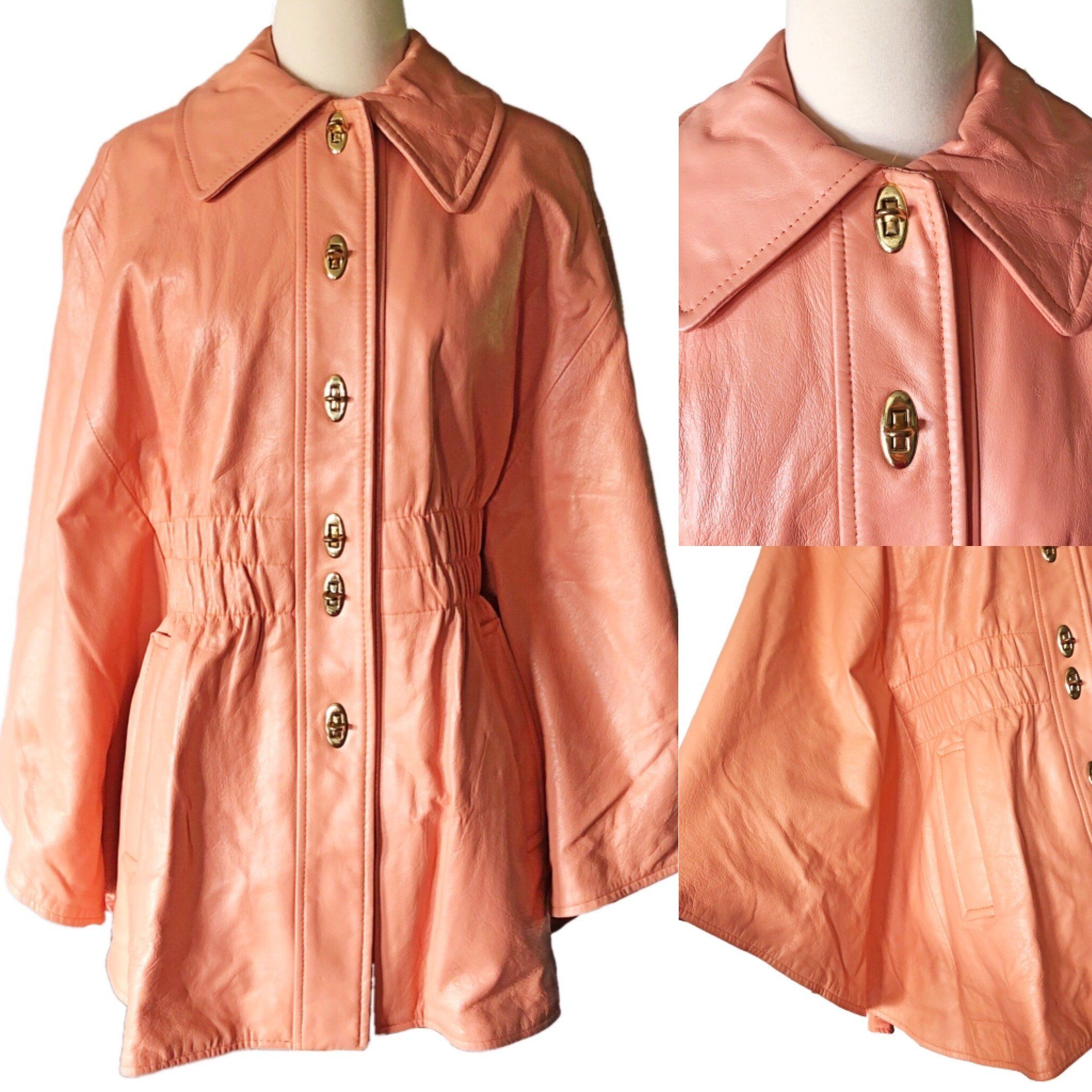 bbf24da54 1970's leather cape, jacket, size small, vintage outerwear, peach ...
