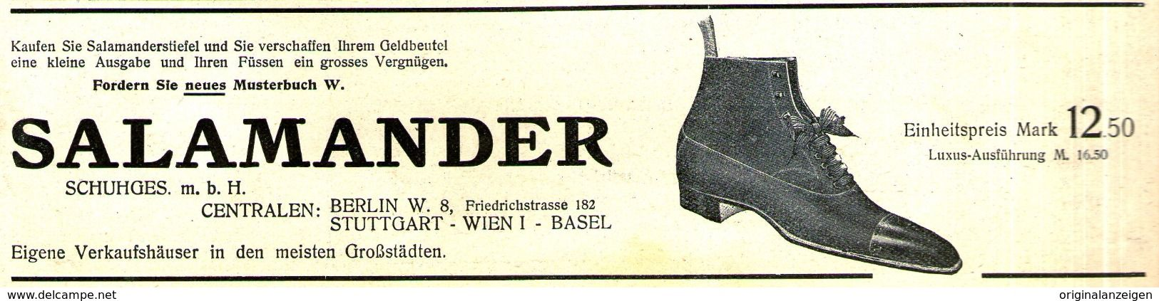 435e433a222b13 Werbung - Original-Werbung  Anzeige 1908 - SALAMANDER - SCHUHE - ca. 180