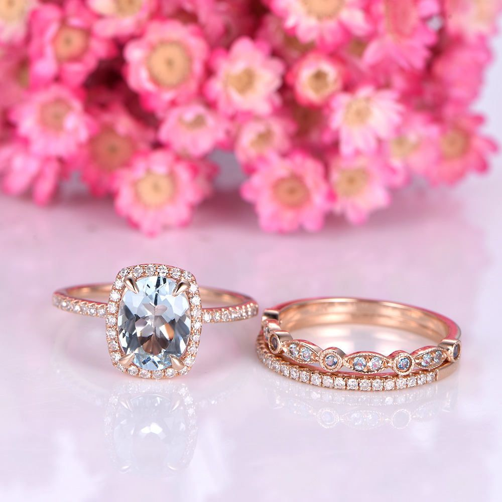 Aquamarine engagement ring set half eternity diamond wedding band ...