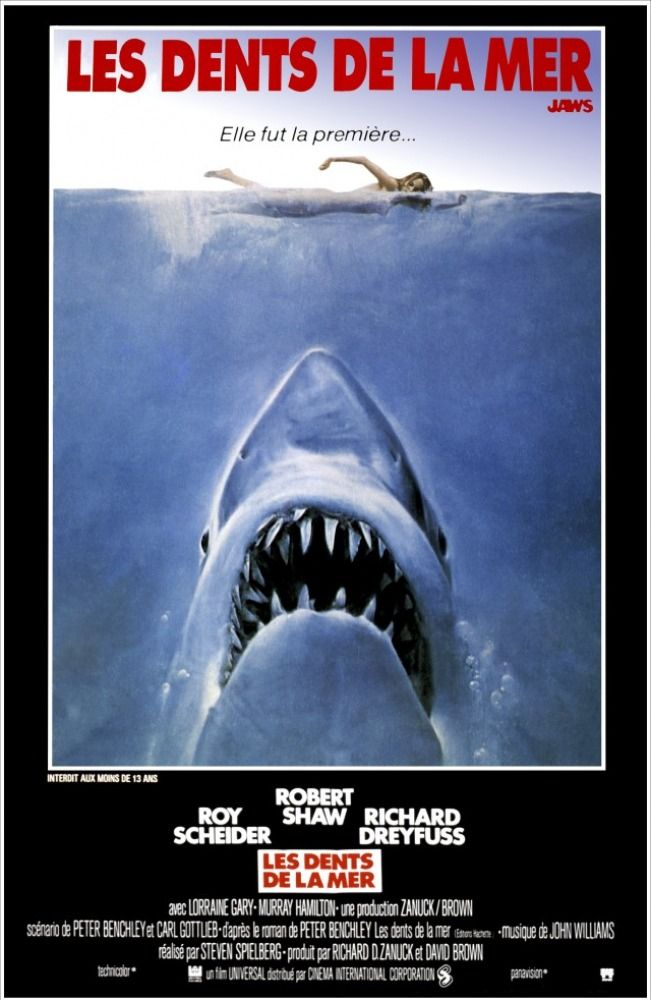 Voir Le Film Les Dents De La Mer 1 Gratuitement : dents, gratuitement, Affiche, Dents, [Steven, Spielberg,, 1975], Film,, Requin,, Cinéma