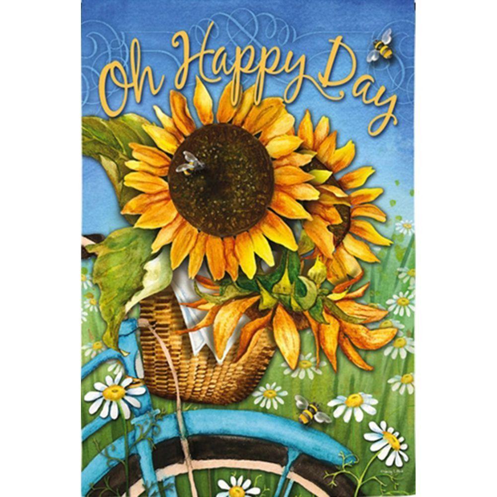 Happy Day Sunflowers Garden Flag Sunflower House House Flags Small Sunflower