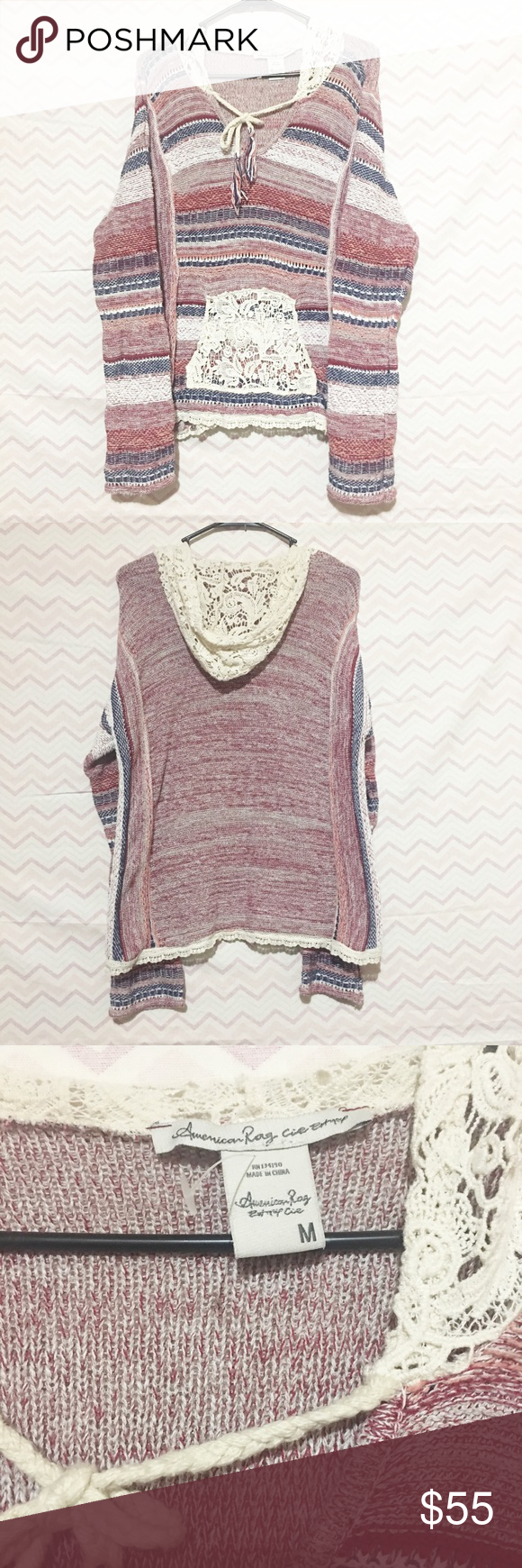 ✨American rag cie hooded sweater NWOT Brand new without tags! Never worn just tried on! Absolutely gorgeous! Beautiful lace detail on the front pocket and hood! Very light weight! Make an offer I always accept or counter! American Rag Sweaters Crew & Scoop Necks