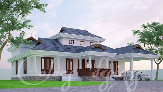 Kerala Traditional 3 Bedroom House Plan With Courtyard And Harmonious Ambience Free Kerala In 2020 Courtyard House Plans Kerala House Design Traditional House Plans