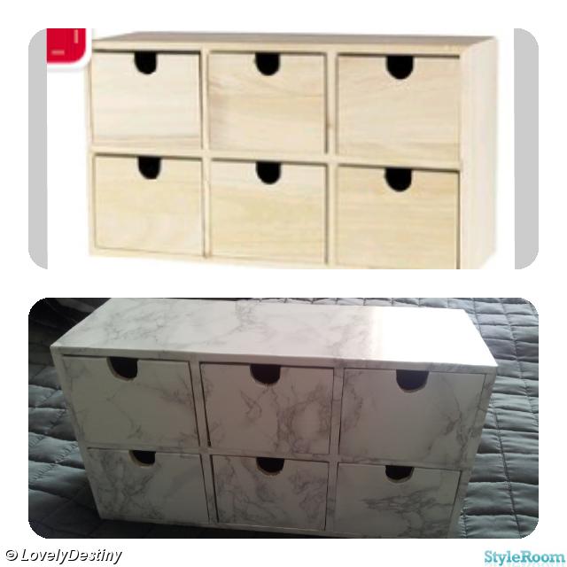 göra själv,minibyrå,kontaktplast,förvaring,box,marmor,panduro DIY Pinterest Inspiration