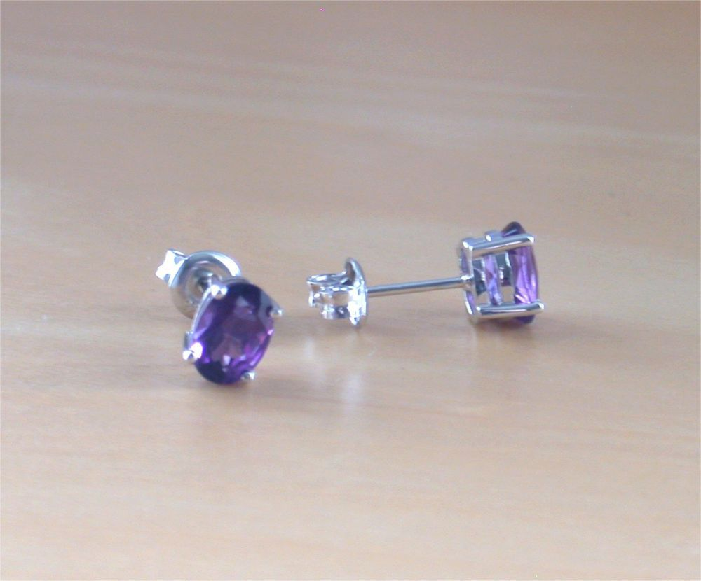 Butterfly Back Round Earrings Natural Amethyst For Women Sterling Silver February Birthstone Jewellery perwWBD