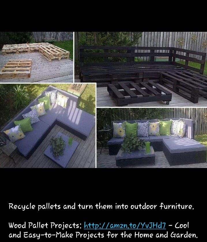 Wood pallet furniture!  Great repurposing!!