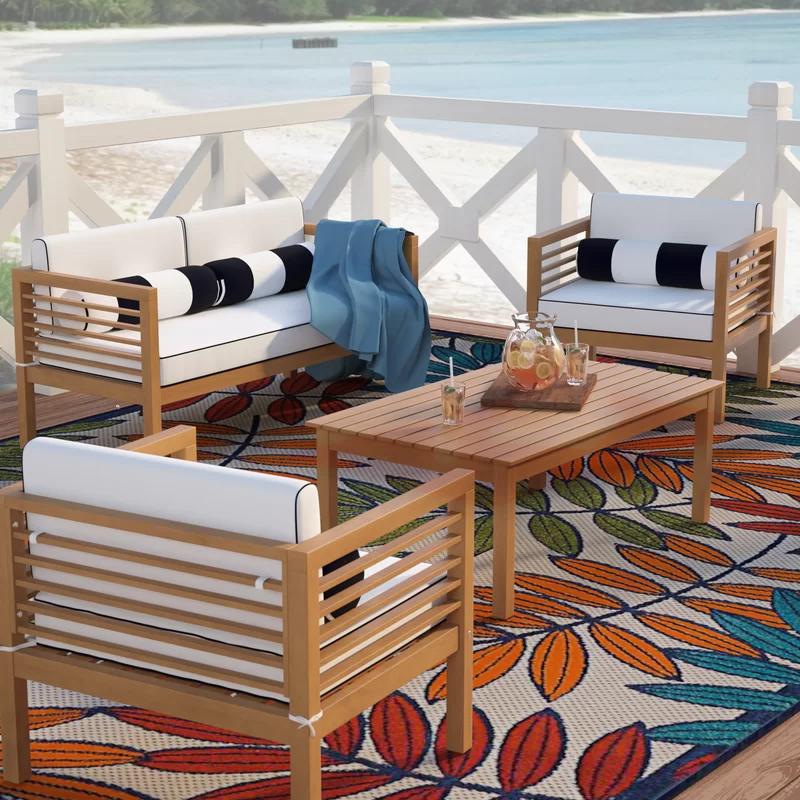 Beachcrest Home Daytona 4 Piece Sofa Seating Group With Cushions Reviews Wayfair Seating Groups Teak Sofa Furniture