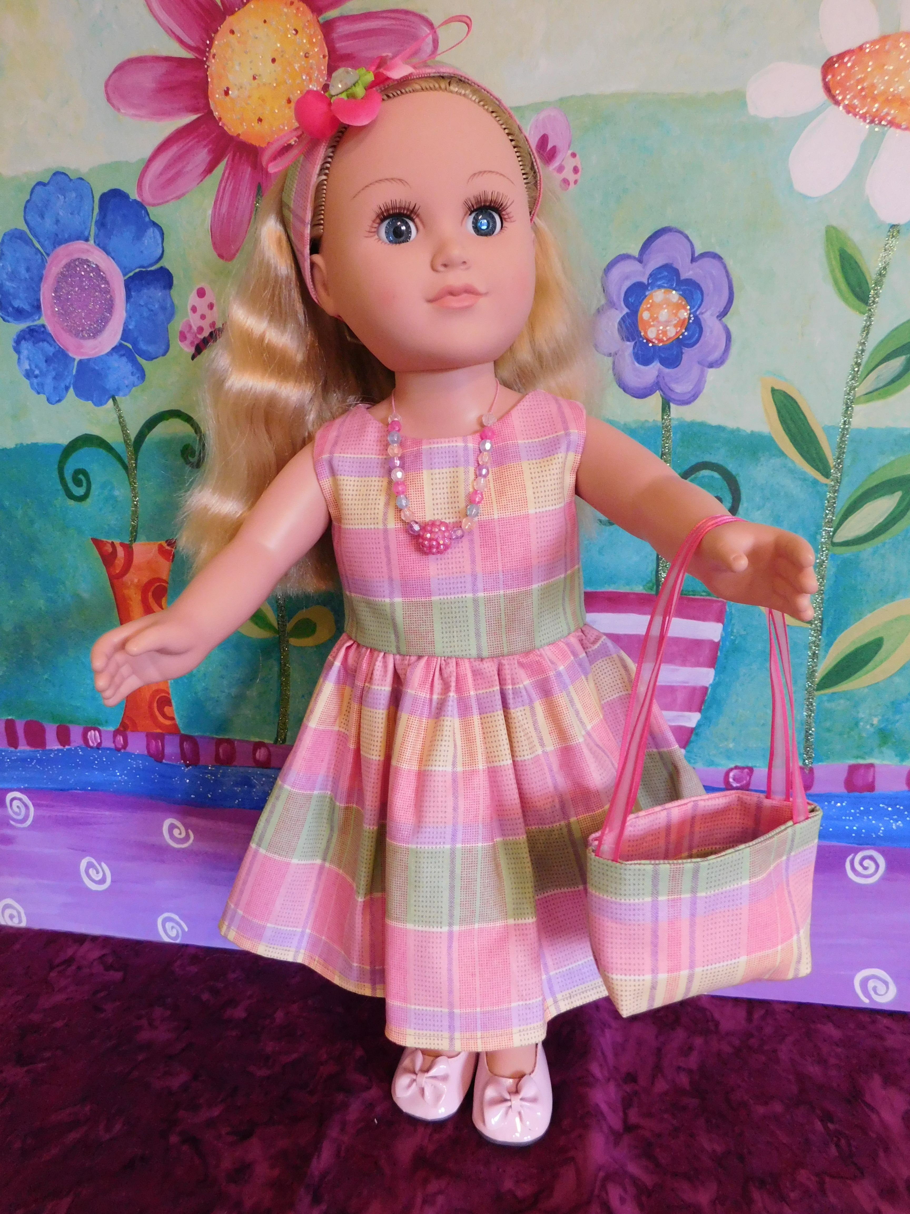 "Pretty Pink Gingham Print Dress Set.  Includes Headband, Handbag, Shoes & Necklace.  Fits 18"" Dolls."
