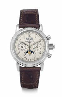 A Fine and Rare Platinum Perpetual Calendar Split-Seconds Chronograph Wristwatch with Moon Phases