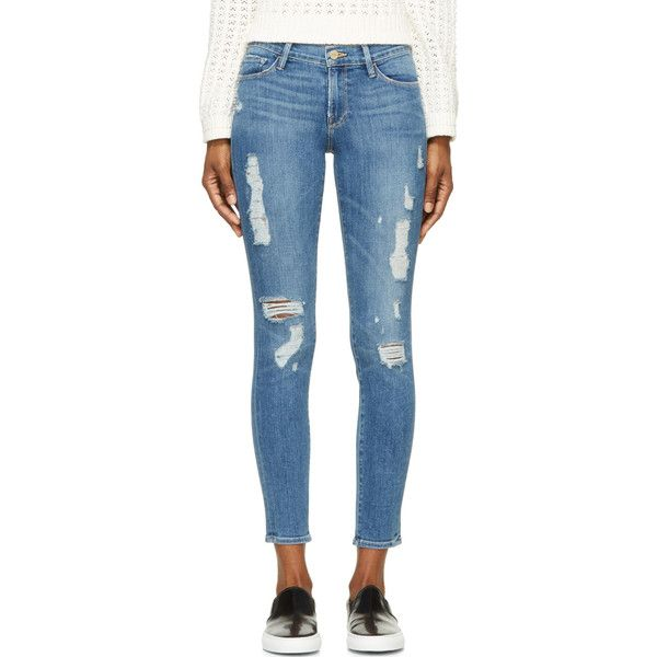 Frame Denim Blue Distressed Le Skinny De Jeanne Jeans (10.925 RUB) ❤ liked on Polyvore featuring jeans, pants, torn skinny jeans, super ripped skinny jeans, distressed jeans, super destroyed skinny jeans und distressed skinny jeans