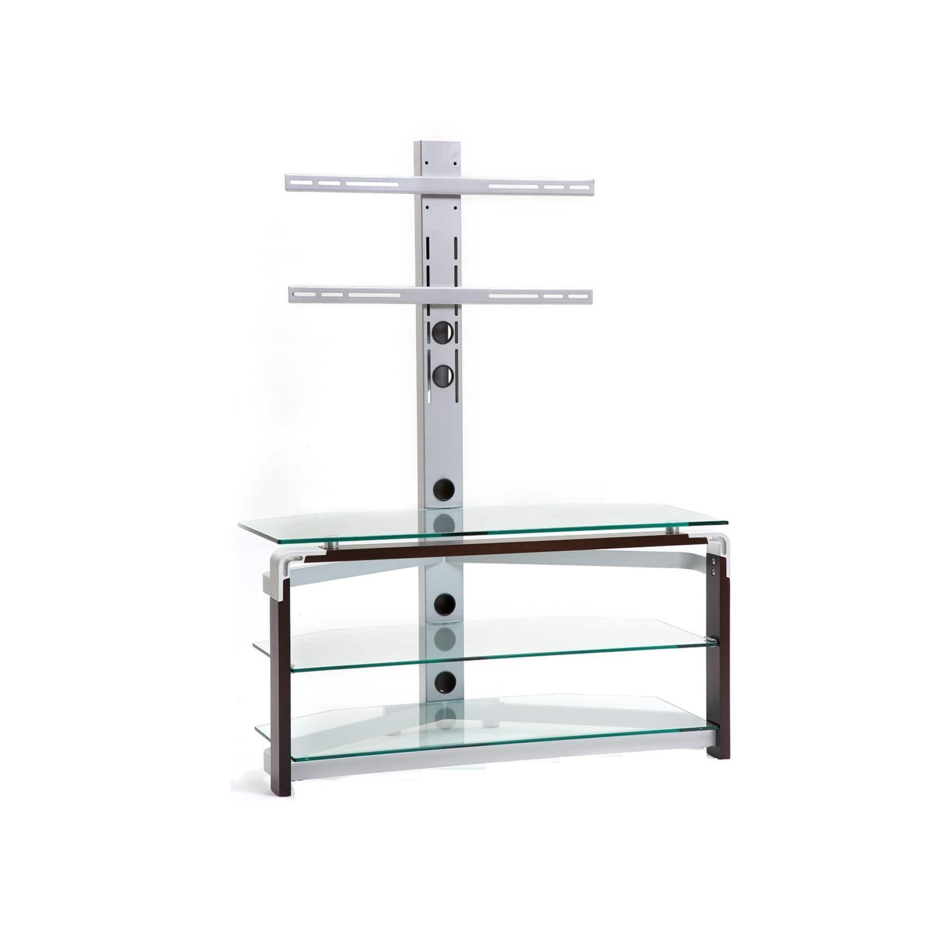 Clear Glass/ Silvertone Metal TV Stand For TVs Up To 42 Inches (Clear Glass