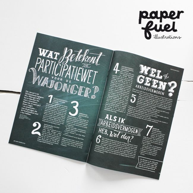 Paperfuel handlettering for UWV Magazine