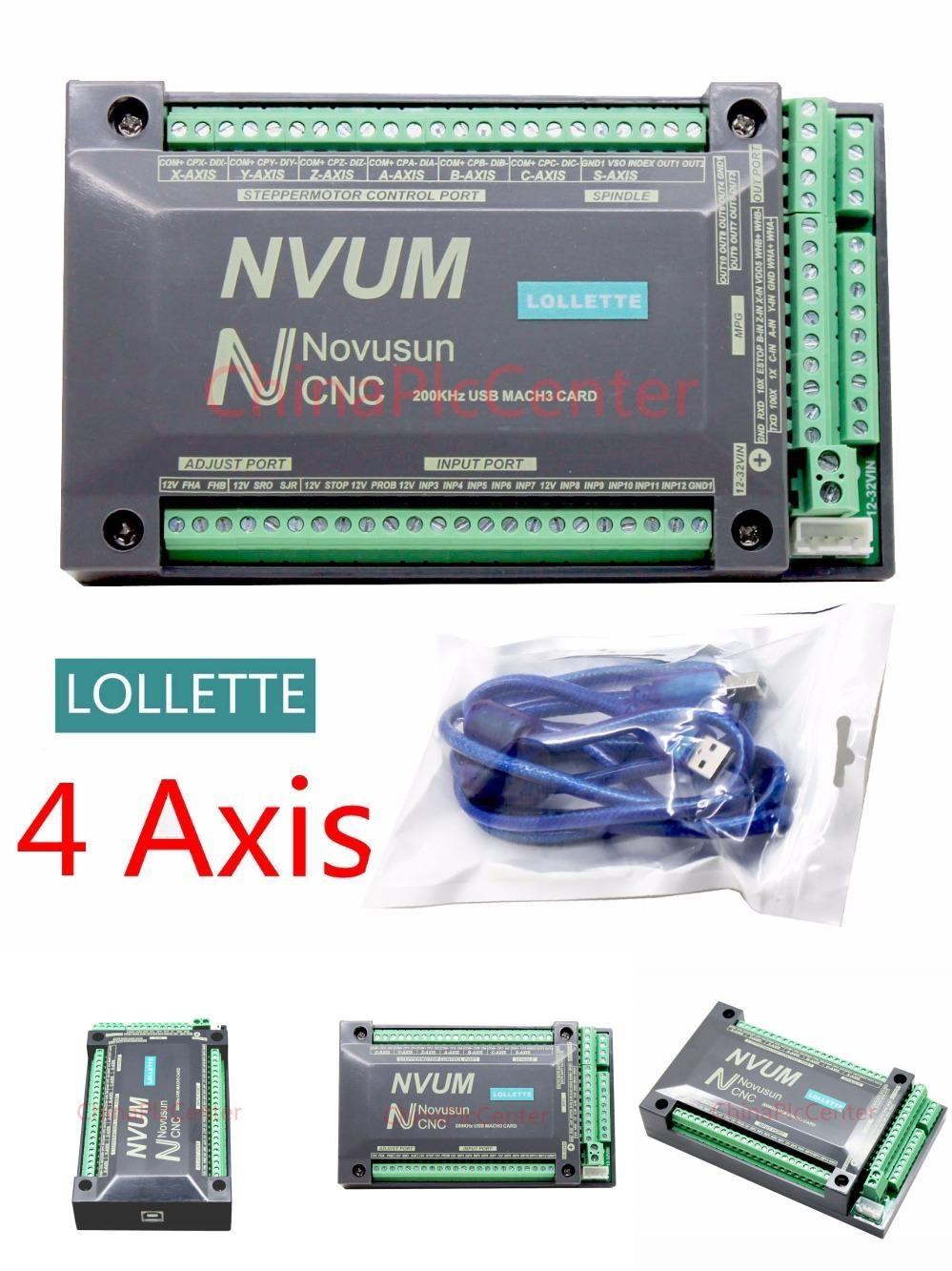 【DE】4 Axis 200KHZ USB Mach3 NVUM CNC Controller Motion Card for Stepper Motor
