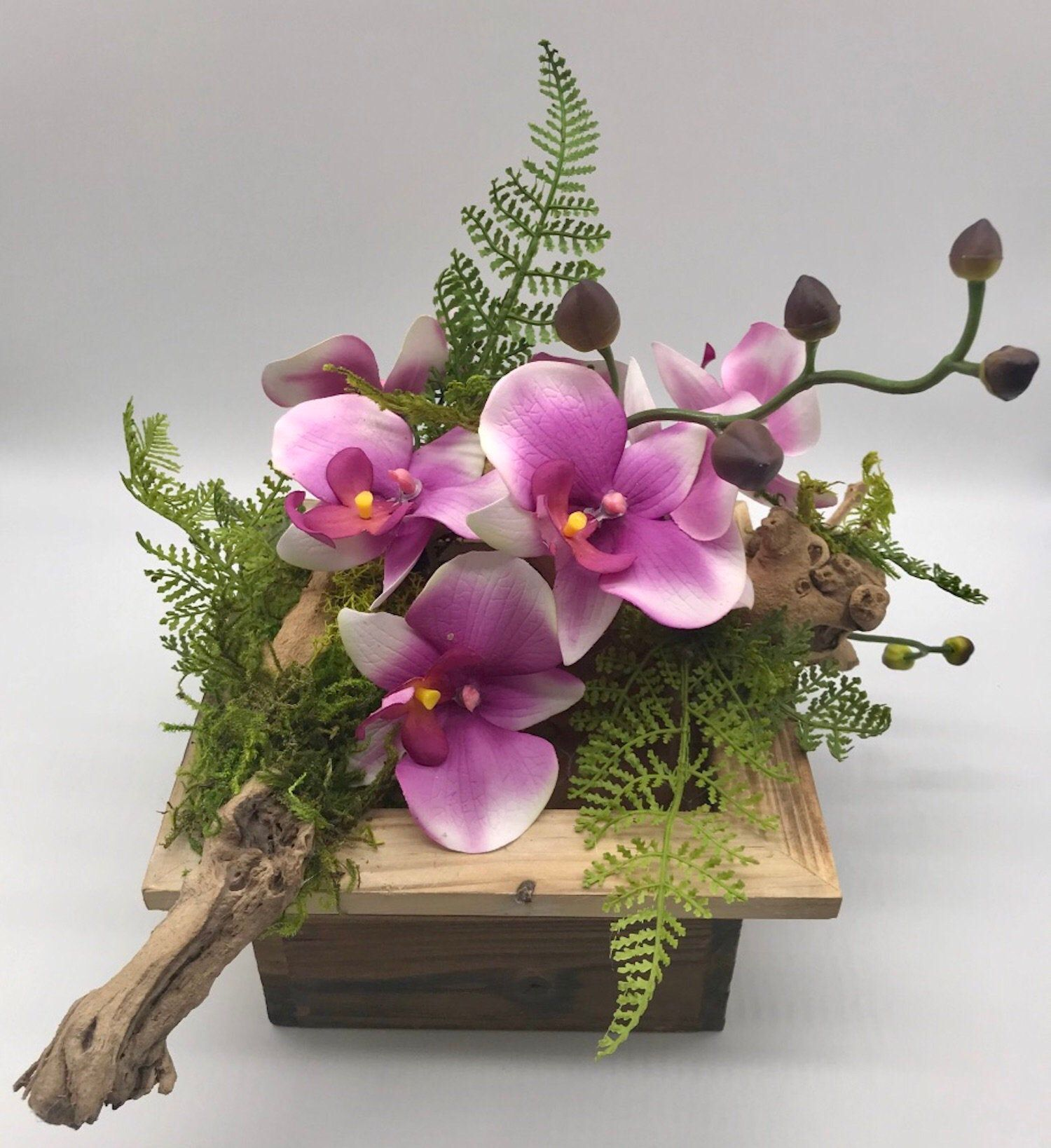 Pink Orchid Arrangement, Orchid Pot, Tropical Centerpiece ...