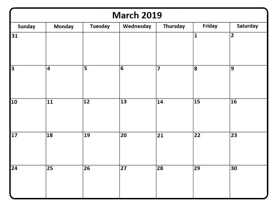 March 2019 Calendar Word Template Calendar 2019 Printable Free Printable Calendar Templates Blank Calendar Pages
