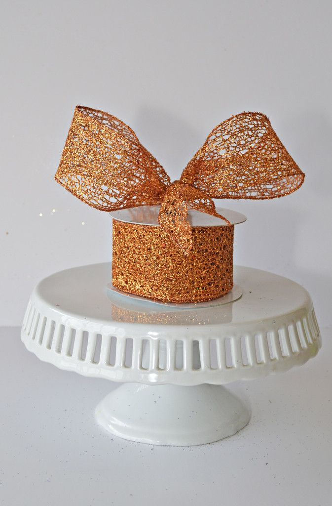 Orange Glitter Mesh Ribbon, wired ribbon, show me decorating, christmas, halloween, fall