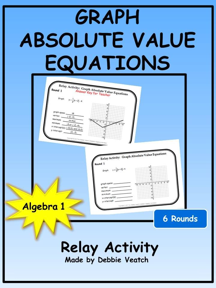 Graph Absolute Value Equations Relay Activity Pinterest Equation