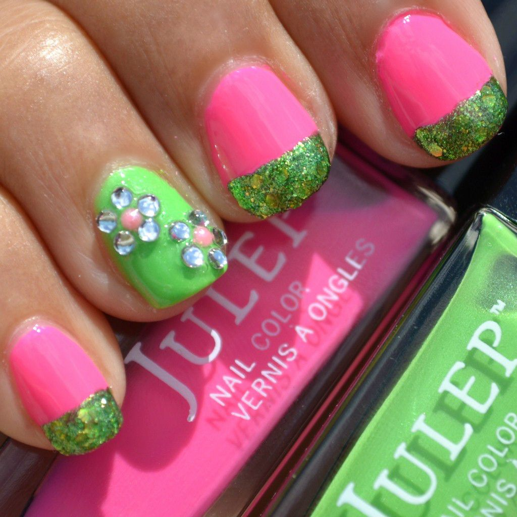 Flower Nail Art Tutorial: Flower Nail Art Tutorial With Pink, Green