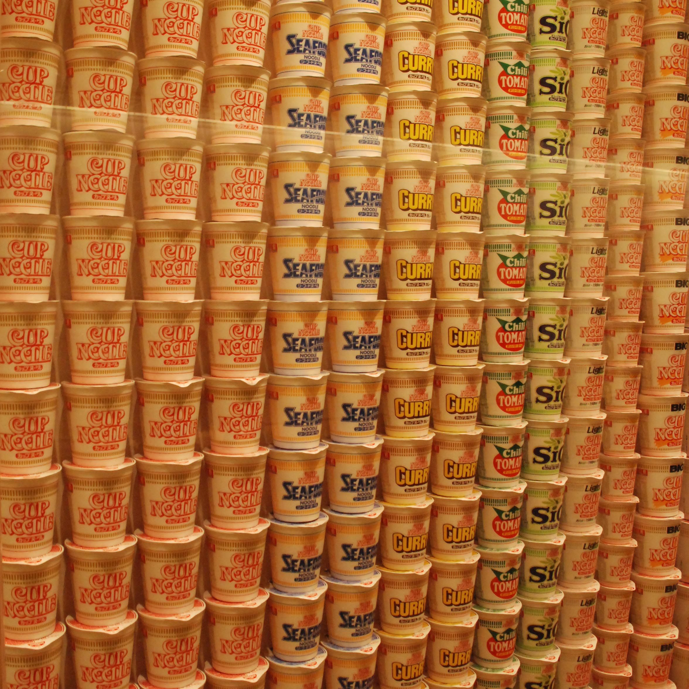 Piles of Noodle Cups