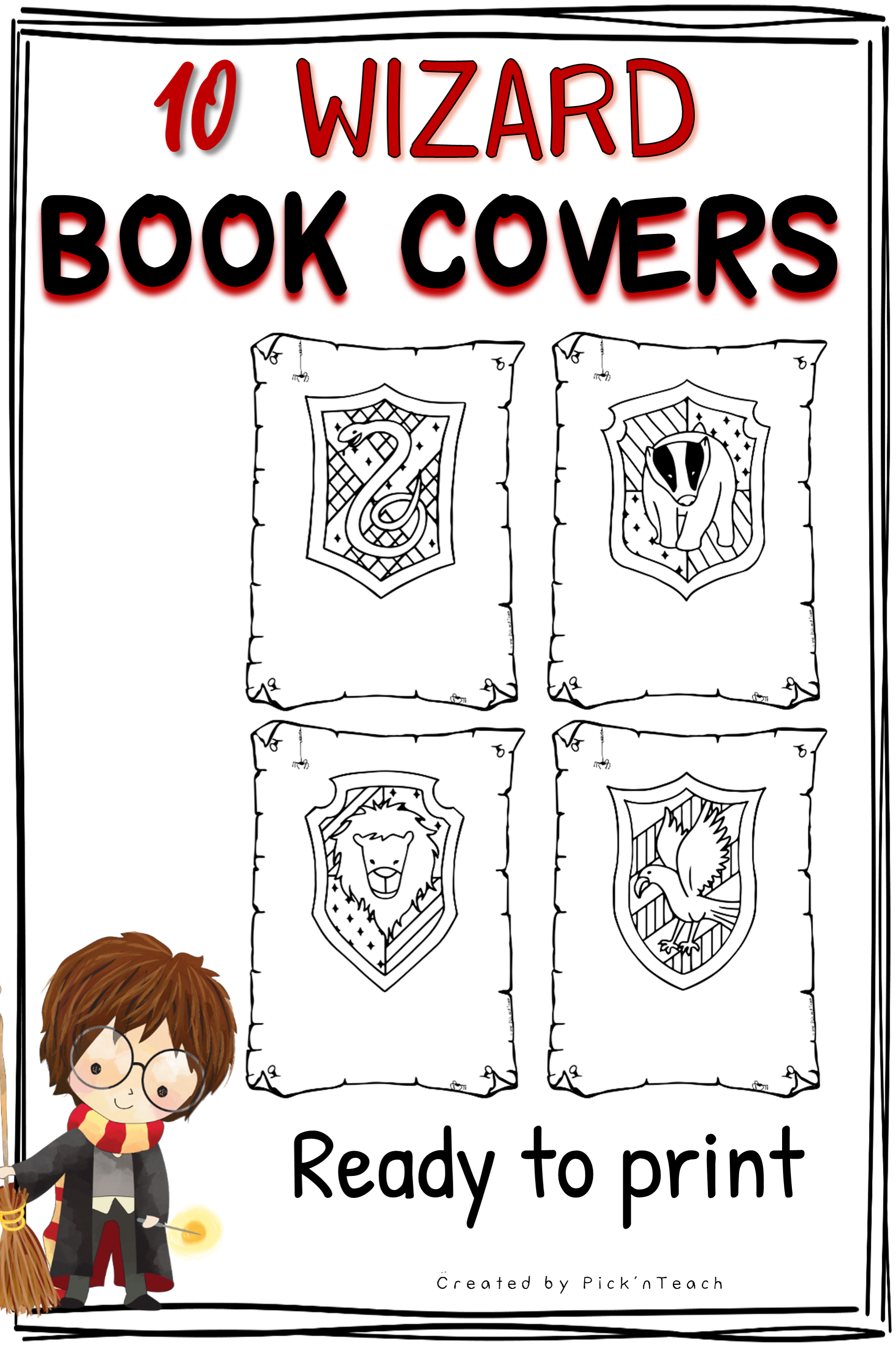 10 Coloring Book Covers Title Pages For Wizards Printable Coloring Books Book Cover Phonics Activities