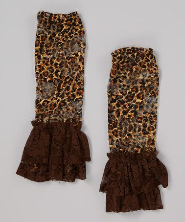 Take a look at this Brown Cheetah Lace Leg Warmers by Little Gem on #zulily today!