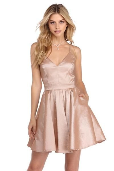 a01222cac2a4 Pink V-neck Straps Stain Pleats Short Homecoming Dresses