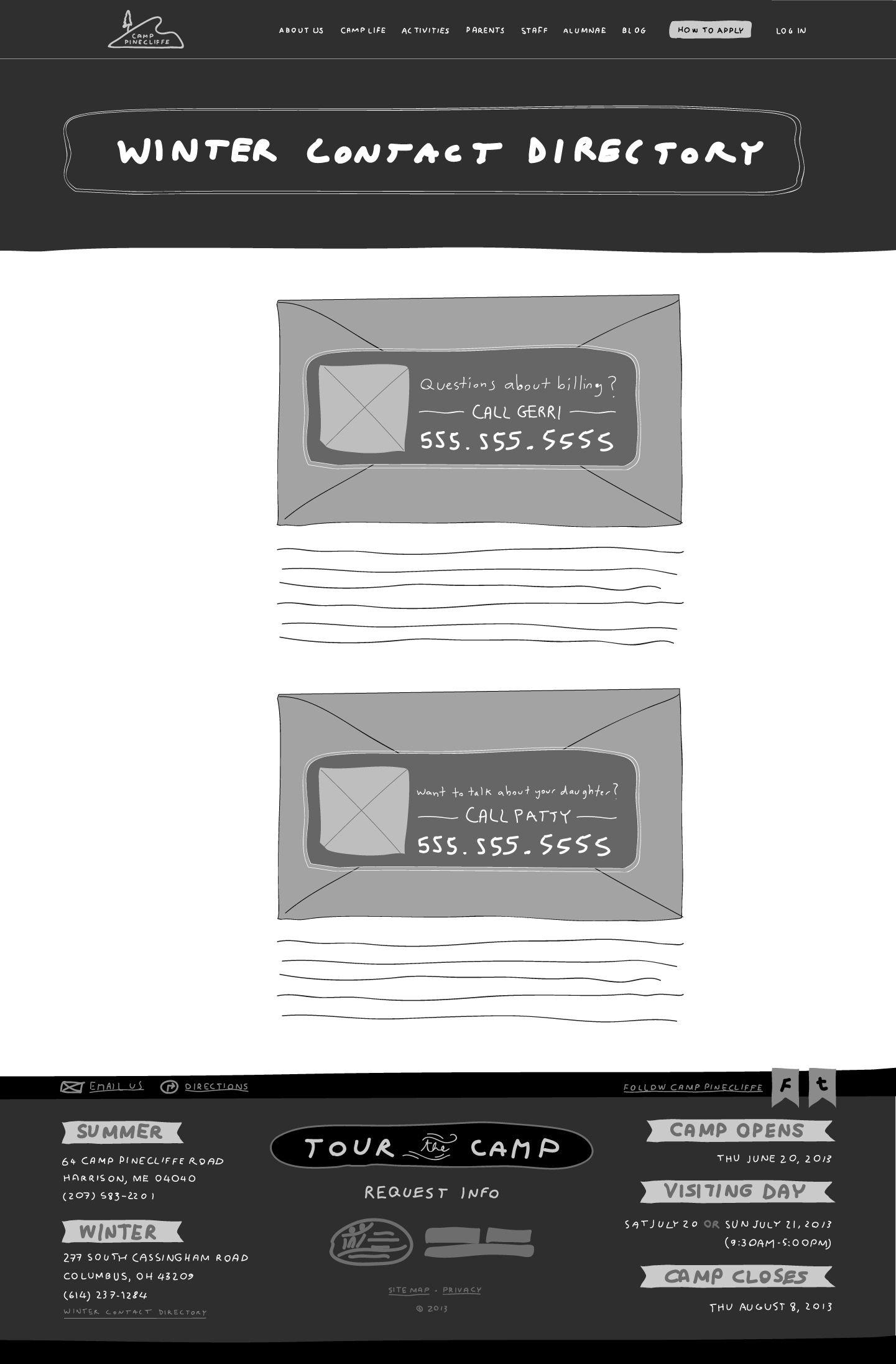 custom website redesign 2 contact directory sketch wireframe