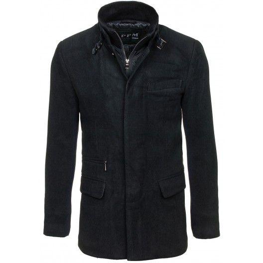 f97662b5d55 Pánské černé kabáty bez kapuce - manozo.cz