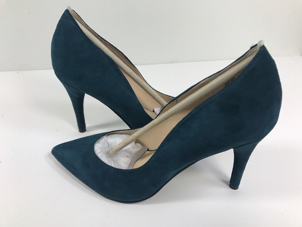 Nine West Cardio Blue Green Suede Women's Stilettos Heels Shoes Size 8.5