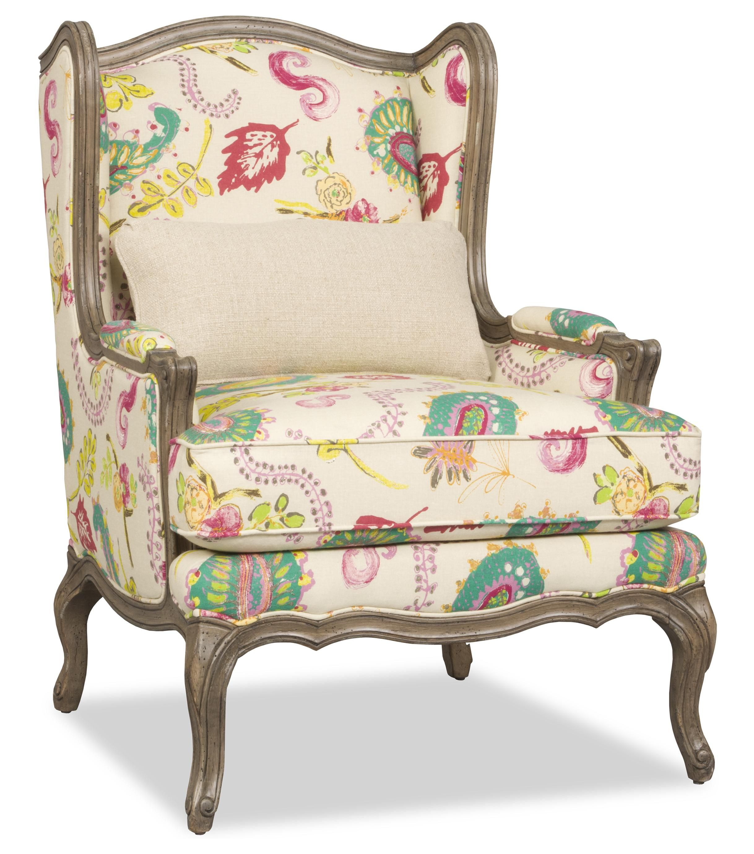 Kelsea Traditional Exposed Wood Wing Chair by Sam Moore